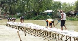 বড়াইগ্রামে আত্রাই নদীতে বাঁধ দিয়ে মাছ শিকার