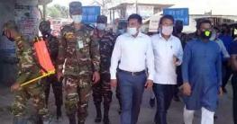 নলডাঙ্গায় করোনা প্রতিরোধে জীবানুনাশক স্প্রে করলো সেনাবাহিনী